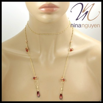 "Designer Nina Nguyen Red Garnet & Golden Topaz 40"" Necklace"