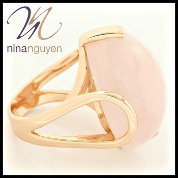 Designer Nina Nguyen Rose Gold Over Sterling Silver Genuine Rose Quartz Ring Size 6