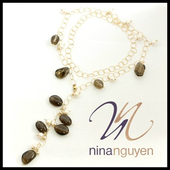 "Designer Nina Nguyen Smokey Quartz & Pearl 14k Gold Filled  36"" Necklace"