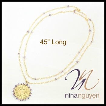 "Designer Nina Nguyen Sunburst Filigree Genuine Amethyst Necklace 45"""
