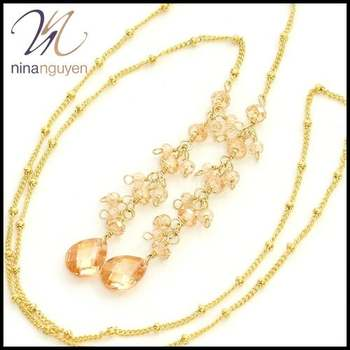 Designer Nina Nguyen Tie the Knot Necklace with Champagne Crystals 14k Gold Filled