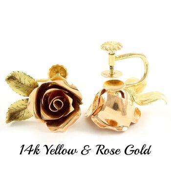 Estate 14 kt Yellow Gold & Rose Gold Rose Flower Earrings for Non Pierced Ears