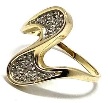 Estate 14k Yellow Gold, 0.20ct Genuine Diamond Cocktail Ring