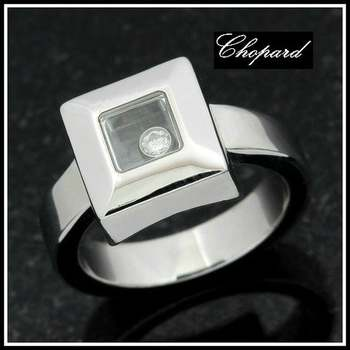 Estate Authentic 18k White Gold CHOPARD Floating Diamond Ring Size 5