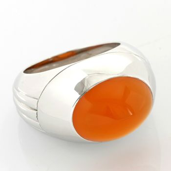 Estate Authentic Boucheron Solid 18K White Gold Carnelian Dome Ring sz (3069)