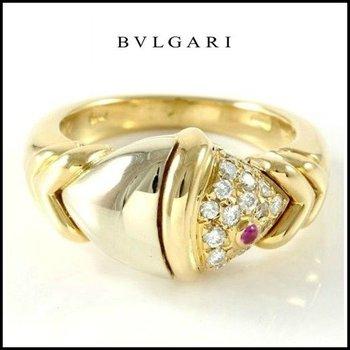 Estate Authentic Bvlgari 18k Multi-Tone Gold Diamonds & Ruby Ring sz 8.5