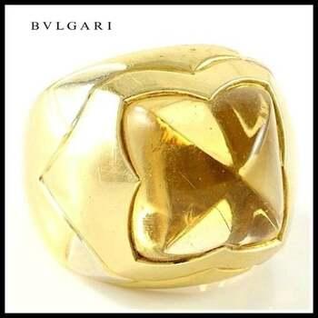 """Estate Authentic Bvlgari Solid 18K Multi-Gold Citrine """"Piramide"""" Ring sz 5"""