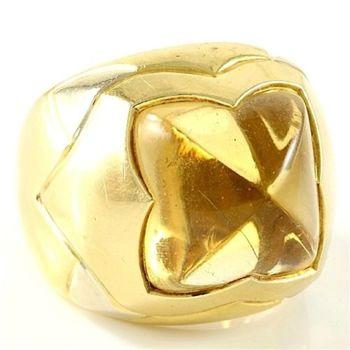 "Estate Authentic Bvlgari Solid 18K Multi-Gold Citrine ""Piramide"" Ring sz 5 (BV14)"