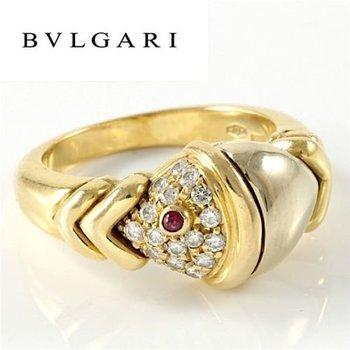 Estate Authentic Bvlgari Solid 18K Multi-Tone Gold Diamond & Ruby Ring sz 4.5