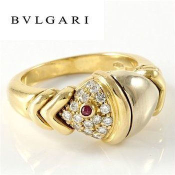 Estate Authentic Bvlgari Solid 18K Multi-Tone Gold Diamond & Ruby Ring sz 4.5
