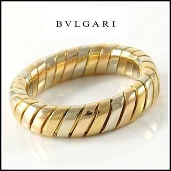 Estate Authentic Bvlgari - Solid 18K Tricolor Gold Band Ring sz 6 (BV3085)