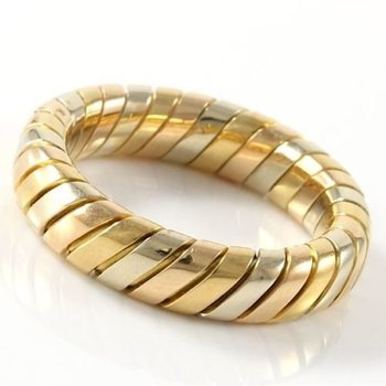 Estate Authentic Bvlgari Solid 18k Tri-Color Gold Band Ring sz 6.5