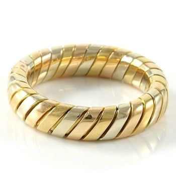 Estate Authentic Bvlgari - Solid 18K Tricolor Gold Band Ring sz 6.75 (3073)