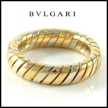 Estate Authentic Bvlgari - Solid 18K Tricolor Gold Band Ring sz 6.75