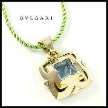 Estate Authentic BVLGARI Solid 18K Yellow and White Gold 5.50cwt Blue Topaz Necklace (BV29)