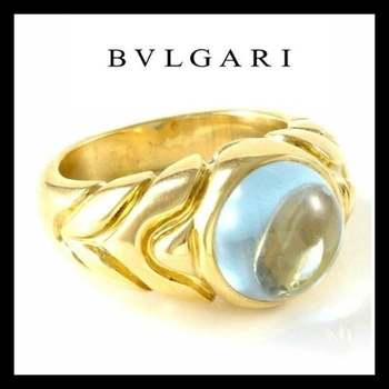 Estate Authentic Bvlgari Solid 18K Yellow Gold Aqua Cabochon Ring sz 5.5