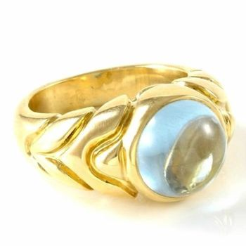 Estate Authentic Bvlgari Solid 18K Yellow Gold Aqua Cabochon Ring sz 5.5 (BV11)