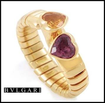 Estate Authentic Bvlgari Solid 18k Yellow Gold Citrine & Tourmaline Ring sz 6 3/4