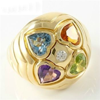 Estate Authentic Bvlgari Solid 18K Yellow Gold Genuine Diamond & Multi-Color Gemstone Ring sz 5.75 (BV01)