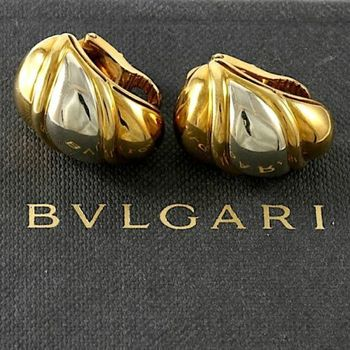 Estate Authentic Bvlgari Solid 18K Yellow & White Gold Clip-on Earrings (BV23)