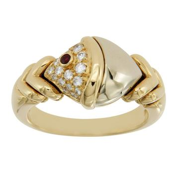 Estate Authentic BVLGARI Tow Tone Natural Diamonds & Ruby 18k Gold Ring Size 5