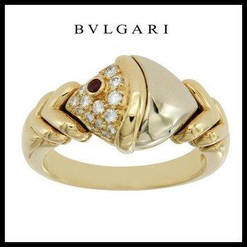 Estate Authentic BVLGARI Tow Tone Natural Diamonds & Ruby 18k Gold Ring Size 5