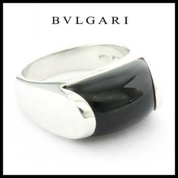 Estate Authentic Bvlgari Tronchetto 18k White Gold Onyx Ring Size 5.5