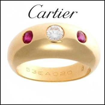 Estate Authentic Cartier 18K Yellow Gold Ruby & Diamond Band Ring sz 5.25