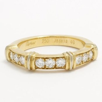 Estate Authentic Cartier Solid 18k Yellow Gold Diamond CONTESSA Band Ring sz 5