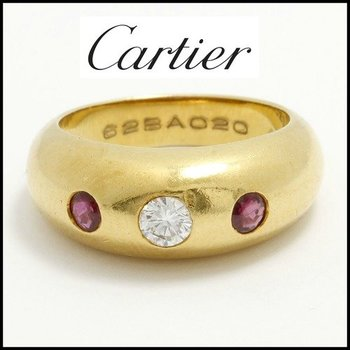 Estate Authentic Cartier Solid 18K Yellow Gold Genuine Ruby & Diamond Band Ring sz 6 (3022)