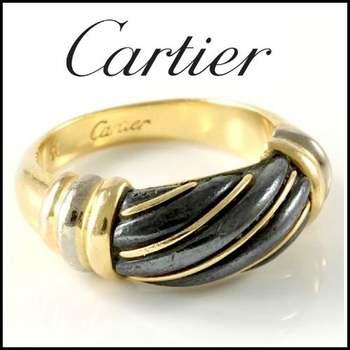 Estate Authentic Cartier Women's Solid 18k Tri-color Gold Hematite Band Ring sz 5.25