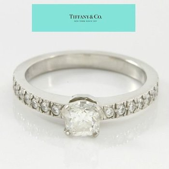 Estate Authentic Tiffany & Co. Platinum, Diamond Engagement Ring sz 3 3/4
