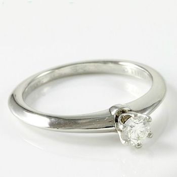 Estate Authentic Tiffany & Co. Platinum Diamond Solitaire Engagement Ring sz 4.5