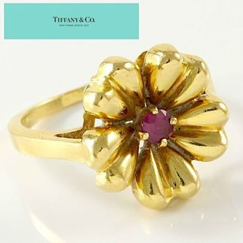 Estate Authentic Tiffany & Co. Solid 18K Yellow Gold Ruby Flower Ring sz 5.5 (TF012)