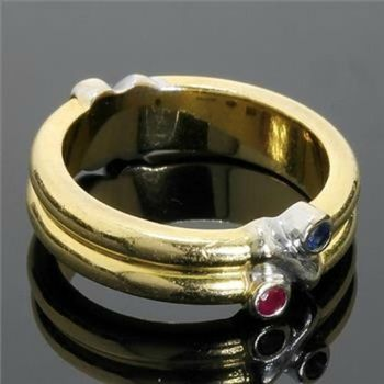 Estate Authentic Tiffany & Co. Solid 18k Yellow & White Gold, Sapphire & Ruby Ring sz 5 (20829)