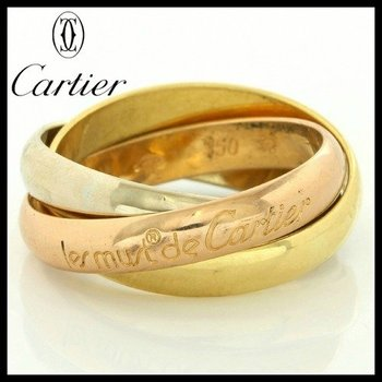 Estate Authentic Trinity De Cartier Solid 18kt Three Color Gold Rolling Ring sz 5