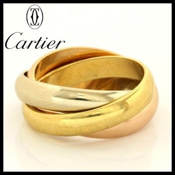Estate Authentic Trinity De Cartier Solid 18kt Three Color Gold Rolling Ring sz 5.75