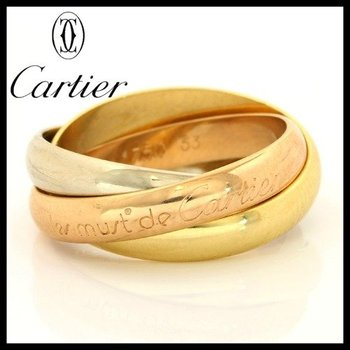 Estate Authentic Trinity De Cartier Solid 18kt Three Color Gold Rolling Ring sz 6.5