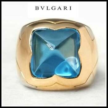"Estate   Bvlgari 18K Multi-Gold Blue Topaz ""Piramide"" Ring sz 5"