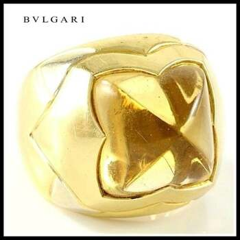 "Estate   Bvlgari   18K Multi-Gold Citrine ""Piramide"" Ring sz 5 (BV14)"