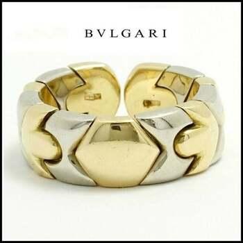 Estate  BVLGARI   18k Multi-Tone Gold Band Ring sz 5-6