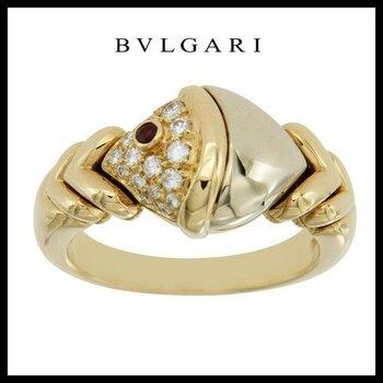 Estate   BVLGARI Tow Tone Natural  Diamonds & Ruby 18k Gold Ring Size 5