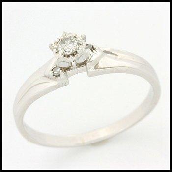 Estate Solid 10k White Gold, 0.07ctw Genuine H/SI2 Diamonds Ring sz 8.25