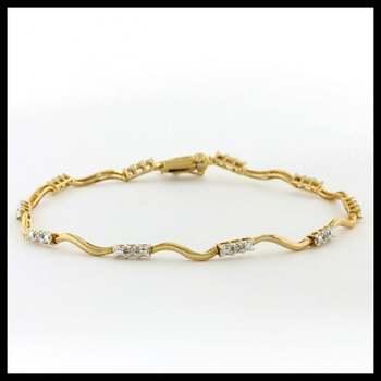 Estate Solid 10k Yellow Gold, 0.10ctw Genuine Diamonds Tennis Bracelet