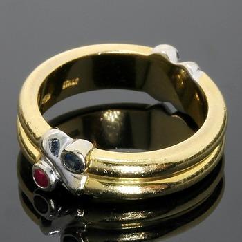 Estate TIFFANY & CO. 18k Yellow & White Gold, 0.10ctw Genuine Sapphire & Genuine Ruby Ring sz 5