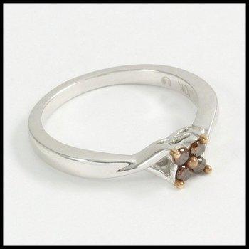 Genuine Cognac Diamond in Solid 10k White Gold Ring Size 7
