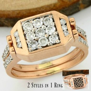 Interchangeable 14 kt Rose Gold - 0.75 ct Round Cut H-I, Fancy Brown, SI1-SI2 Diamond Ring Size: 5