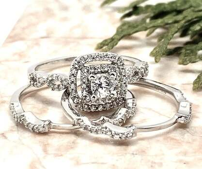 NO RESERVE .925 Sterling Silver, 0.75ctw White Diamonique Set of 3 Rings Size 7