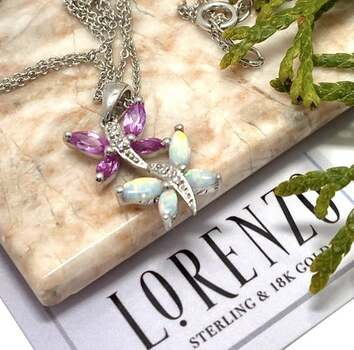 NO RESERVE Authentic Lorenzo .925 Sterling Silver, 0.02ct Diamond & 0.50ct Pink Sapphire & 0.50ct Opal Necklace