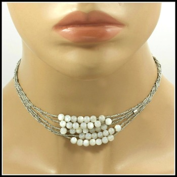 Pesavento DNA Collection .925 Sterling Silver Gray Beads Mesh Choker/Necklace